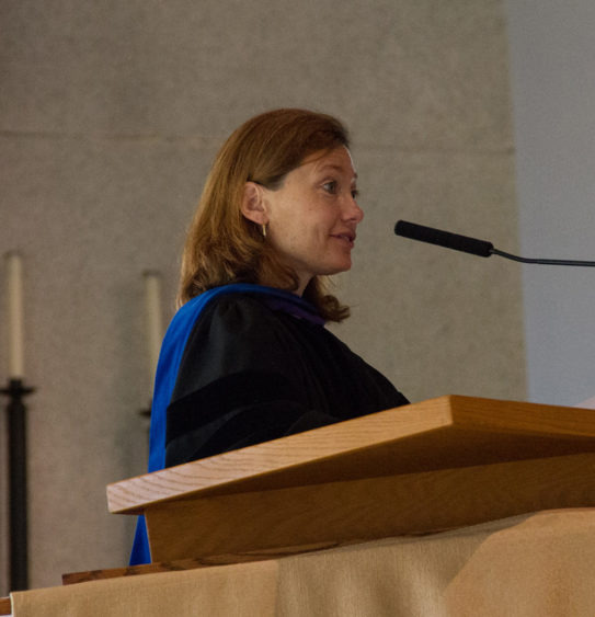 Newly appointed Provost and Dean, Brenda Kelly gives a speech during a service in Christ Chapel.