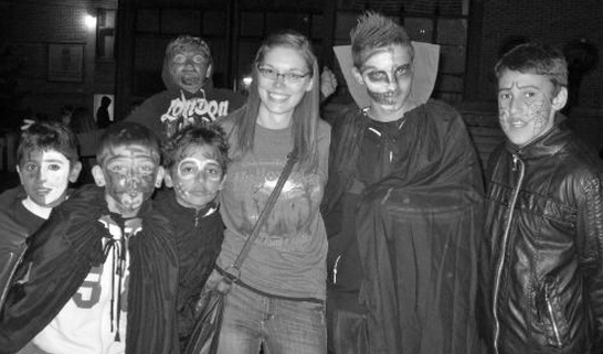 Gustavus Alum Sara Scholin shares American Halloween traditions with her students in Macedonia. Submitted