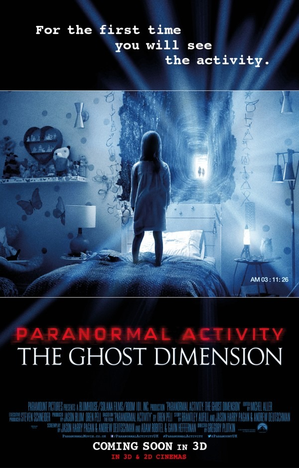 Paranormal Activity-The Ghost Dimension is the fifth and final Paranormal Activity movie, released in the fall of 2015.