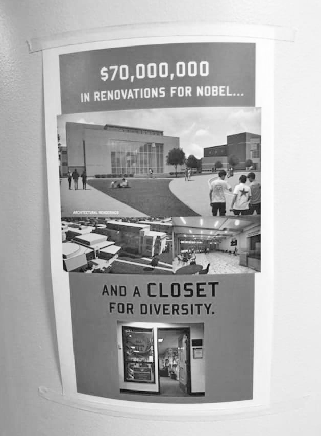 One of the diversity posters found earlier this week in Beck Academic Hall.
