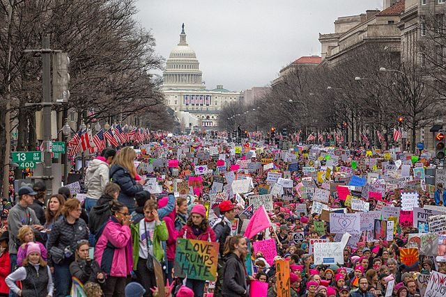 The Trump administration has faced fierce resistance from a wide coalition of protest movements. Pictured above is the 2017 Women's March on Washington.