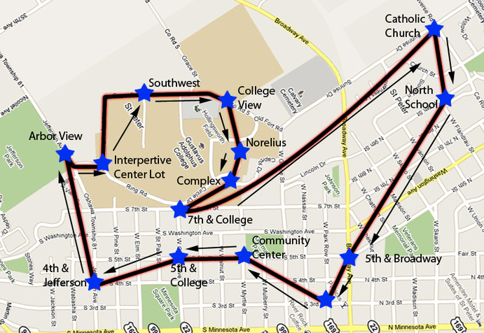 Pictured above is the map the six-week trial of the new Gus Bus route will run. The route makes 14 total stops, both on campus and around the St. Peter area. Jen Wahl.