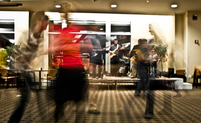 Gustavus Swing Club practices every Wednesday from 9:00 p.m. to 11:00 p.m. Here, they are pictured dancing on Dec. 8 in the Evelyn Young Dining Room to a live band. They will be performing at Midnight Express. Clark Kampfe.