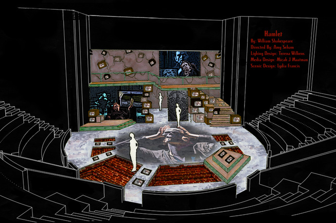 The final rendering of the set design by Lydia Francis. 1. Two large projection screens enables the incorporation of several cinematic elements. 2. Over 30 televisions create a popular culture vibe while adding to the sense that Hamlet is constantly being watched. 3. The varying levels of the stage seem to signify the multiple levels of reality Hamlet experiences. Lydia Francis.