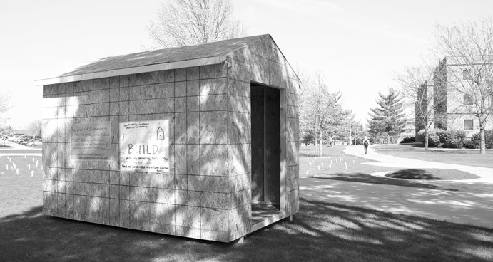 In support of St. Peter's Act, Speak, Build Week, Gustavus will build a shed on campus to donate to a local family. Jen Wahl.