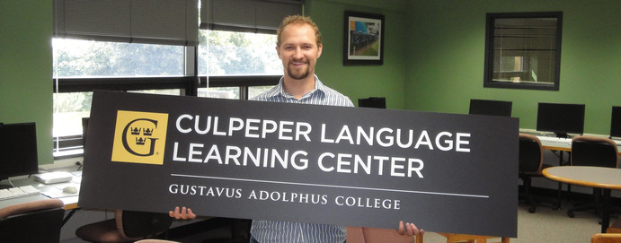 Director Jeremy Robinson standing in the Culpeper Language Learning Center. Submitted.