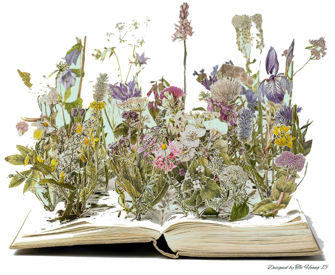 Books in Bloom is a library fundraiser featuring floral arrangements and several library books. Thi Hoang