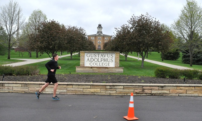 Over 150 ran through the Linnaeus Arboretum and the Gustavus campus during the Take the Hill Triathlon. Wes Baish.