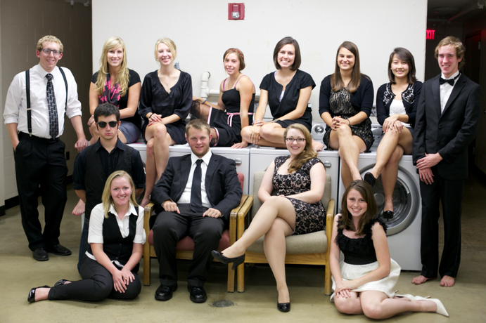 The Weekly staff is often found socializing in fancy dress attair in the Co-Ed basement laundry room. Pictured left to right (top row): Justin Feit, Chelsea Johnson, Renee Hoppe, Rebecca Hare, Linnea Moat, Anna Pinske, Tram Bui, Blake Van Oosbree. Left to right (bottom row): Aaron Albani, Kristina Ericksen, Ben Miller, Victoria Clark, Beth Schmidt. <em>Mara LeBlanc</em>