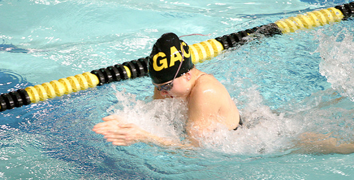 The Gustavus women's swim and dive team has been training diligently in preparation for the season. The women compete at the Jena Freeman Invitational this weekend. <em>Gustavus Sports Information</em>