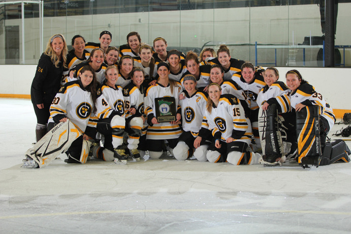 The Women's Hockey team is all smiles after their MIAC championships game where they defeated Saint Benedict. <em>Gustavus Sports Information</em>