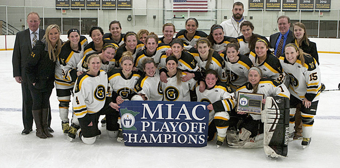 The Gustavus women's hockey team celebrated after beating the Concordia Cobbers 4-1 on Mar. 2. With this win, the Gusties were crowned MIAC Playoff Champions for the tenth consecutive year. On Saturday, Mar. 9, the Gusties will host UW-River Falls at Don Roberts Arena for their first game in the National Tournament. A win on Saturday will send the Gusties to the Final Four. <em>Gustavus Sports Information</em>