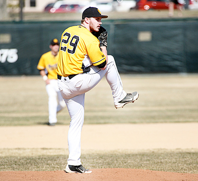 Sophomore Pitcher Steven Zehms is among the Gustie baseball players who are eager to get back into the swing of things after weather conditions have limited their season. <em>Gustavus Sports Information</em>
