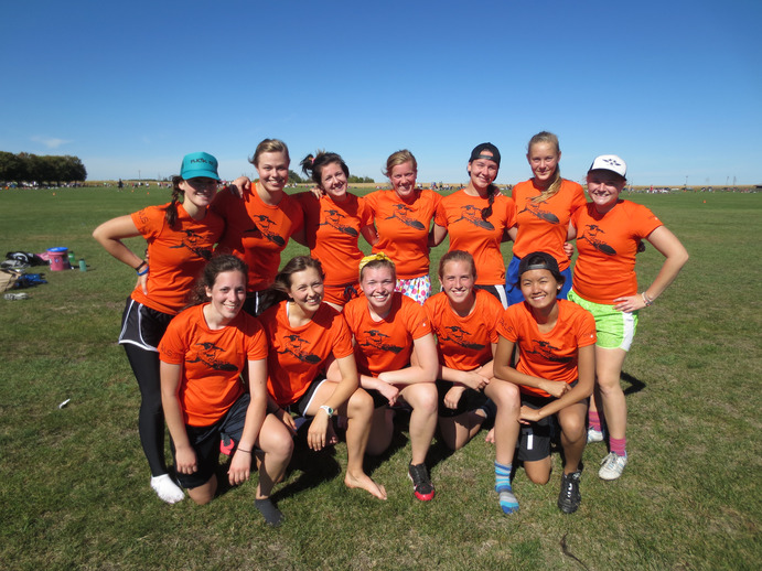 The women's ultimate team, the Outskirtz, posed for a team photo at the Exit 69 Tournament. Submitted