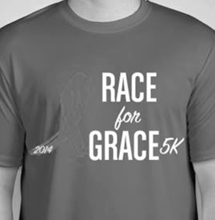For a registration fee of $15, participants in the Race For Grace 5k will receive this performance t-shirt. The event takes place on Sunday, May 18, beginning at 9 a.m. Submitted