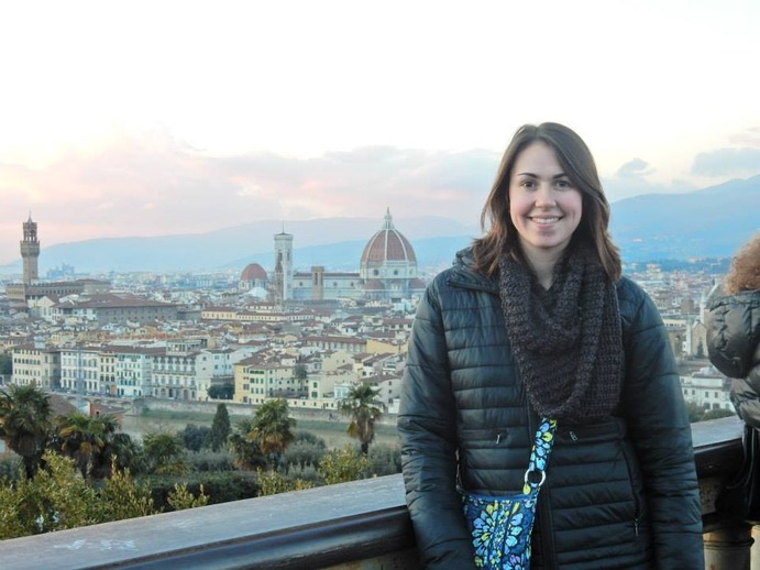 Standing in Piazzale Michelangelo overlooking Florence, Nicole Giovannoni has a beautiful view of Il Duomo.