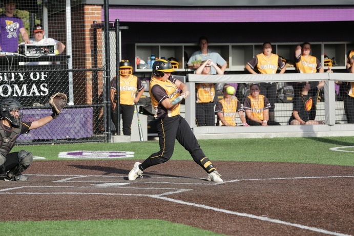 Junior Jena Willis at bat in the Gusties contest against St. Kate's in the MIAC Playoffs. Unfortunately the Gusties dropped the game and went 0-2 in the playoffs despite a 17-5 regular season conference record and an overall record of 26-12.