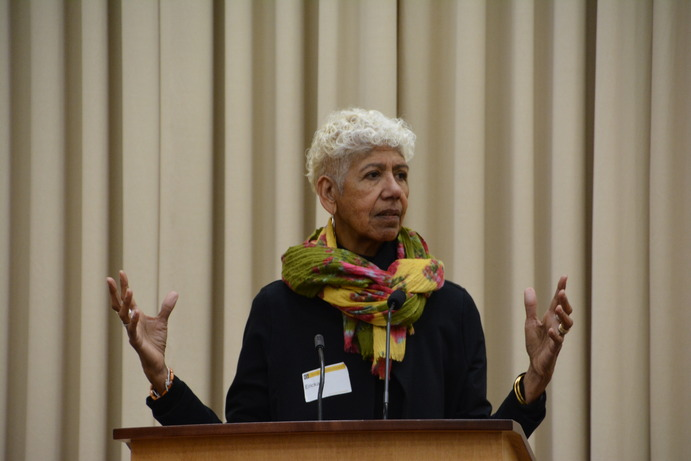 Ericka Huggins, former leading member of the Black Panther Party, spoke on campus last Tuesday. Huggins reflected on her own life experiences and discussed the organization of social justice grassroots movements.