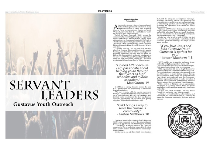 Servant Leaders: Gustavus Youth Outreach