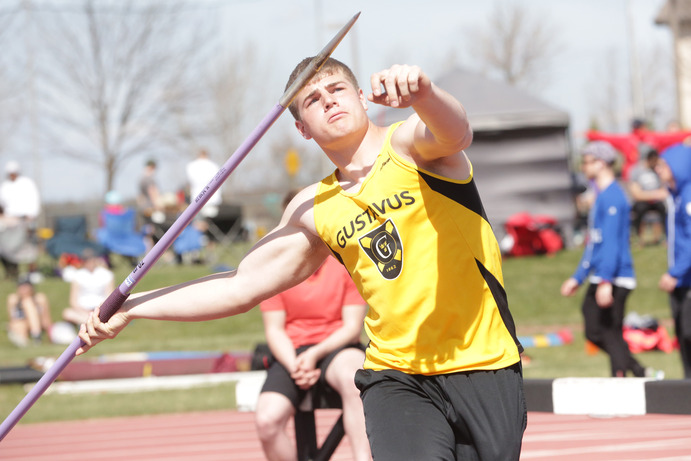 Sophomore Michael Hensch competes in javelin during a meet last season. Hensch placed third in javelin at the Hamline Invitational with a throw of 170-10.