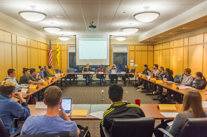 Student Senate holds its first meeting of the school year as Co-Presidents, Solveig Svendson and Hubert Ngabirano, address the incoming and returning members.