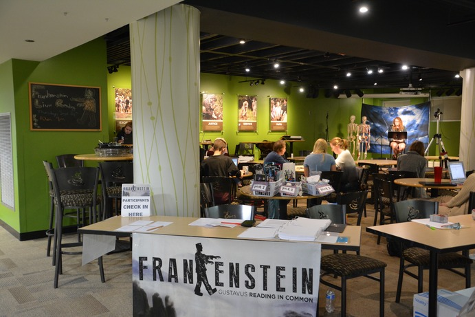 "The ""Frankenstein"" live reading takes place in the Courtyard Cafe as viewers watch as Ellen Kneeskern, senior, read from the book."