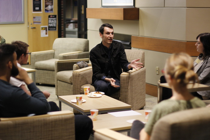 Pajtim Statovci gives an intimate talk in the Center for International and Cultural Education.
