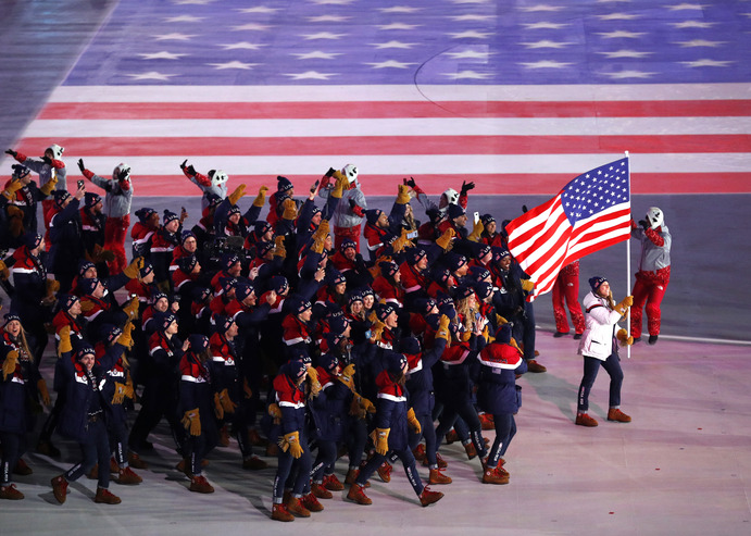 Team U.S.A. walking into the Opening Ceremonies of the 2018 Winter Games in Pyeongchang, South Korea.