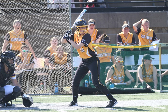 Senior Jessica Neuman lines up at the plate and prepares for a pitch. After a short season, the Gusties finished eighth out of twelve teams and failed to qualify for the MIAC playoffs.