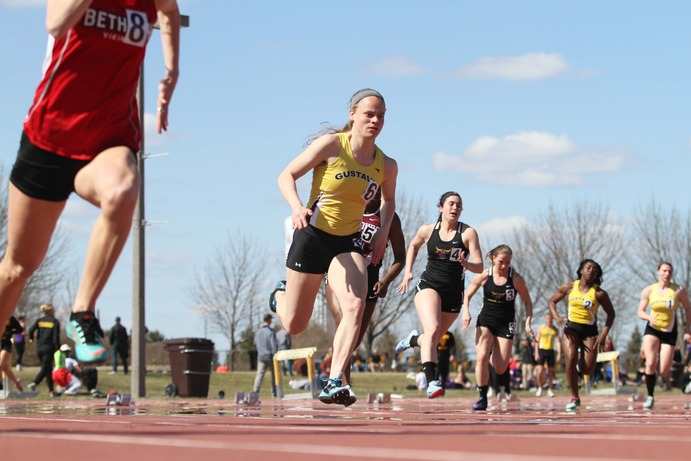 Junior McKayla Stowell competes in the 200-meter dash at the 18th Annual Drake Invitational April 28. Stowell took home first in the event to add to her first place finish in the 100-meter dash.
