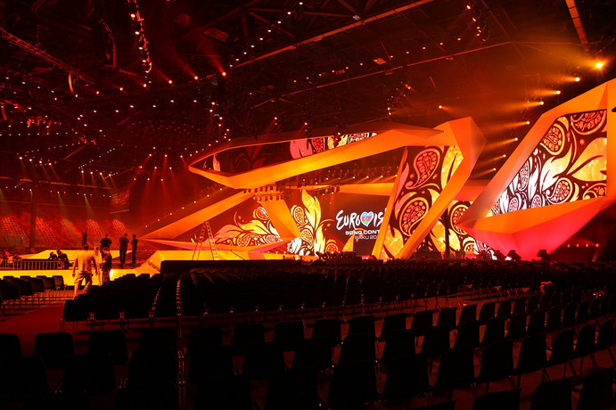 A typical Eurovision stage set-up before the show.