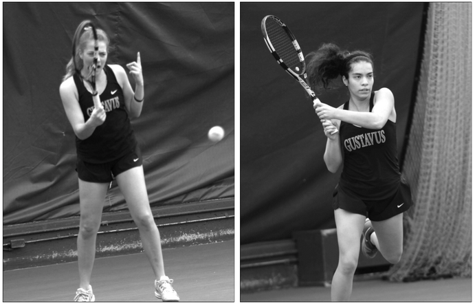 Senior Ally Baker (right) and Junior Bri Hartmann (left) excelled as doubles partners and individuals, as the Gusties defeated Southwest Minnesota State, Carleton and St. Thomas this past weekend.