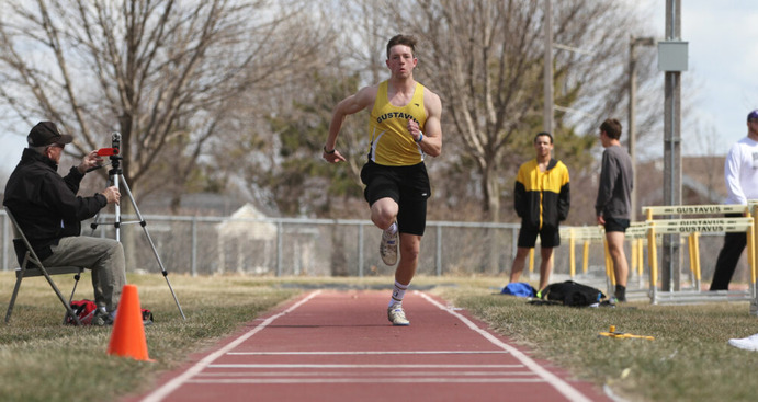 Junior Matthew Montplaisr competes in the long jump during a home meet this season. The Gusties compete next at the Drake Relays April 6, 2019.