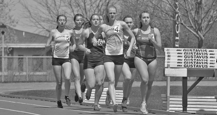 Sophomore Kourtney Kulseth leads the pack during the 3000M Steeplechase at the Drake Alternative meet.