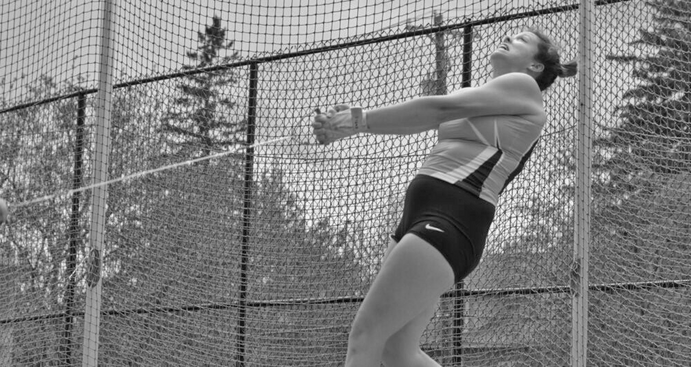 Junior Katie Keelin competes in the hammer throw at the Conference Outdoor Championships. Keelin placed first in the event earning her All-Conference and a bid to Nationals.