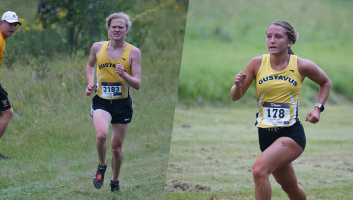 Sophomore Zane Michael focuses on keeping a steady pace during a meet & First-year Madalyn Lemke competes for the Gusties at the Crown Invite.
