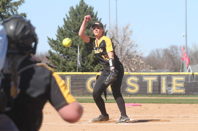 Senior Aly Freeman pitches for the Gusties during a game last season. Freeman is a force on the mound and has a 0.349 batting percentage that earned her both All-Conference and Academic All-America honors last season.